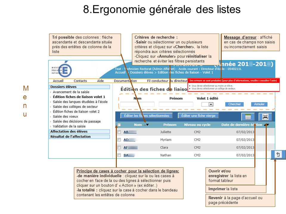 8.Ergonomie générale des listes