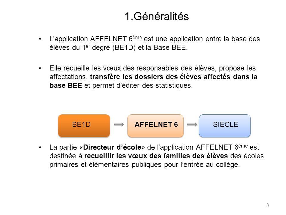 1.GénéralitésL'application AFFELNET 6ème est une application entre la base des élèves du 1er degré (BE1D) et la Base BEE.