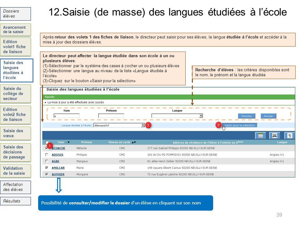 12.Saisie (de masse) des langues étudiées à l'école