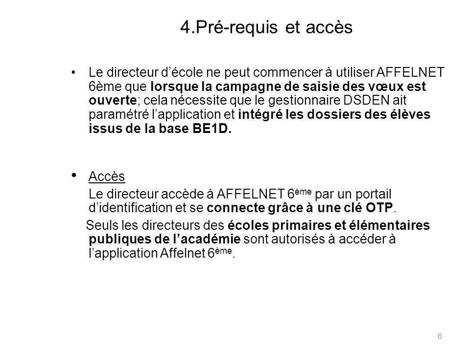 4.Pré-requis et accès