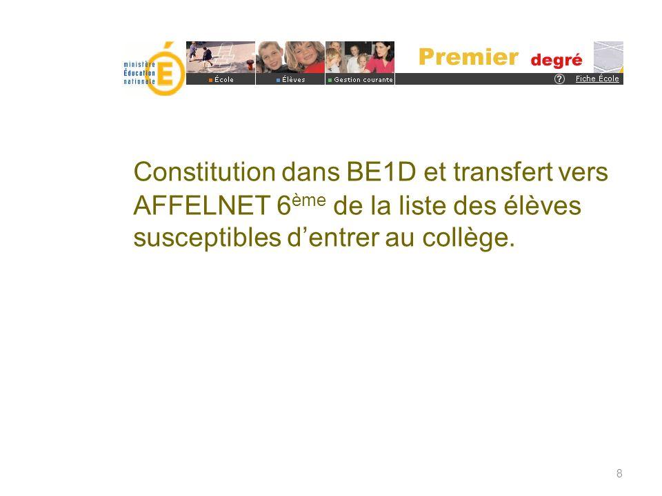Constitution dans BE1D et transfert vers AFFELNET 6ème de la liste des élèves susceptibles d'entrer au collège.