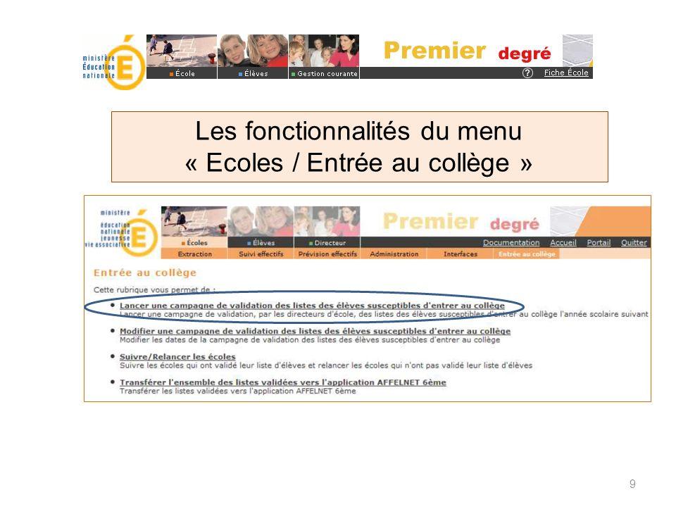 Les fonctionnalités du menu « Ecoles / Entrée au collège »