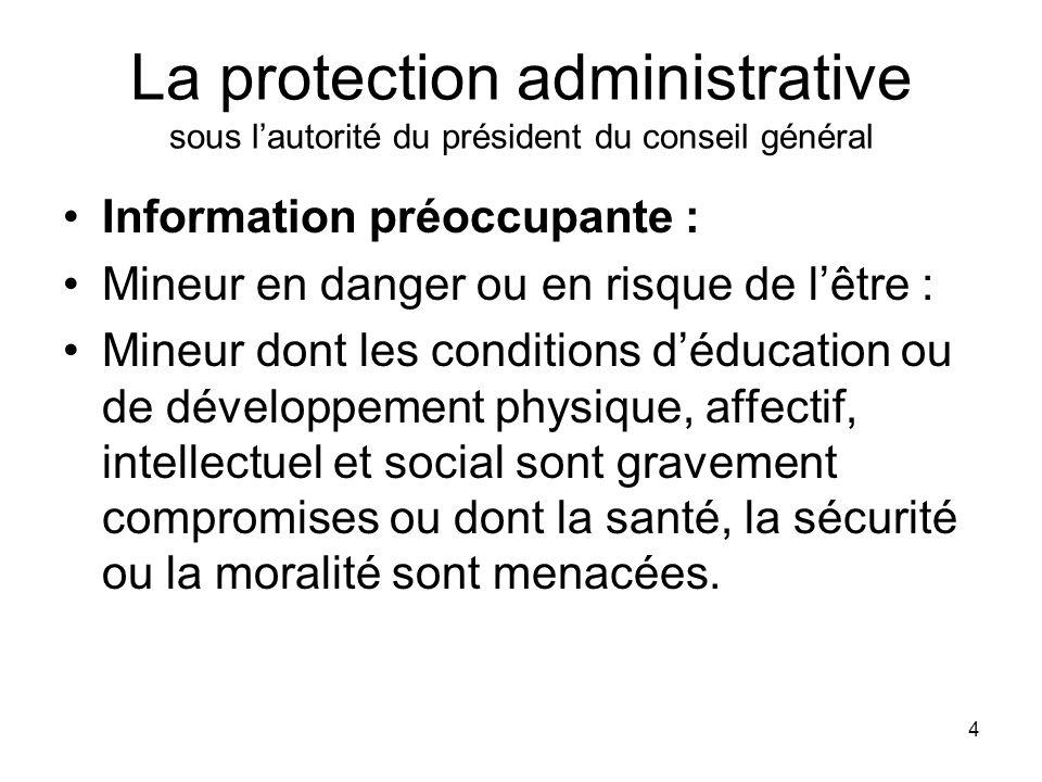 La protection administrative sous l'autorité du président du conseil général