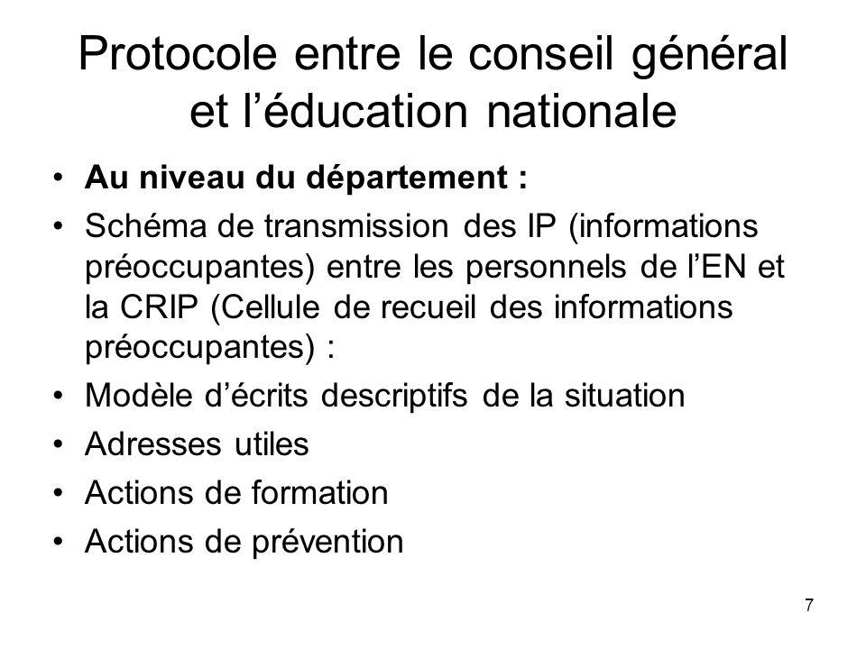 Protocole entre le conseil général et l'éducation nationale