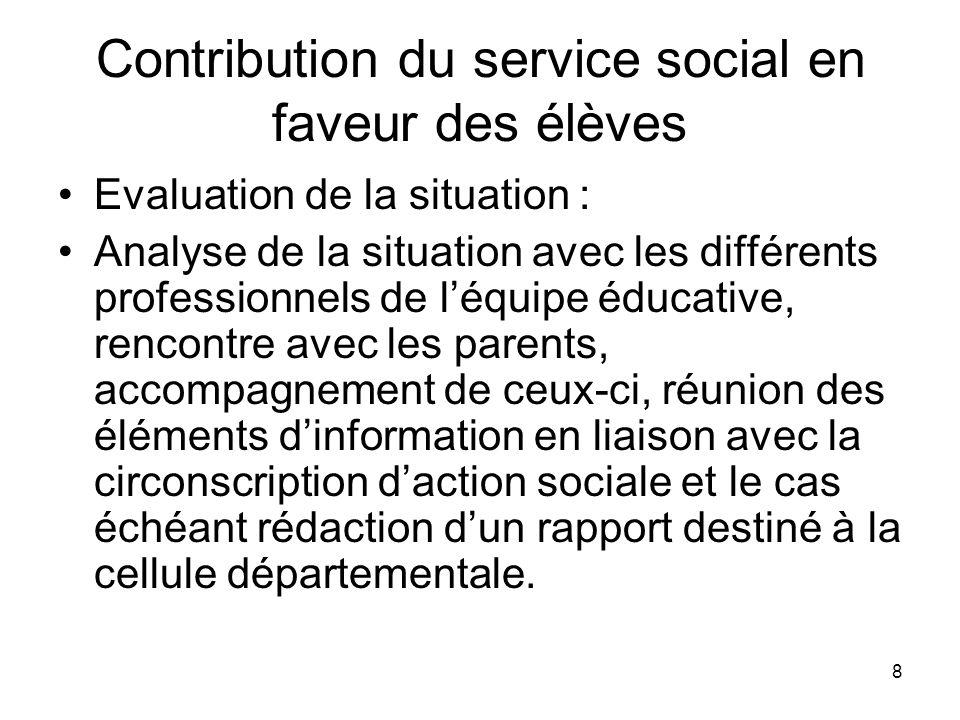 Contribution du service social en faveur des élèves