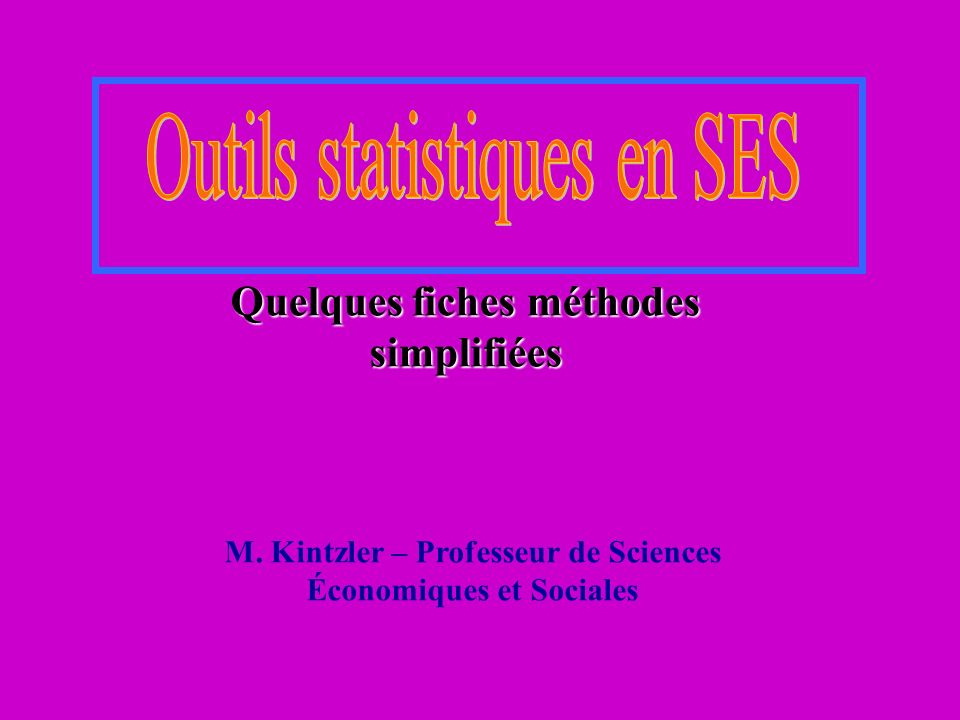 Outils statistiques en SES