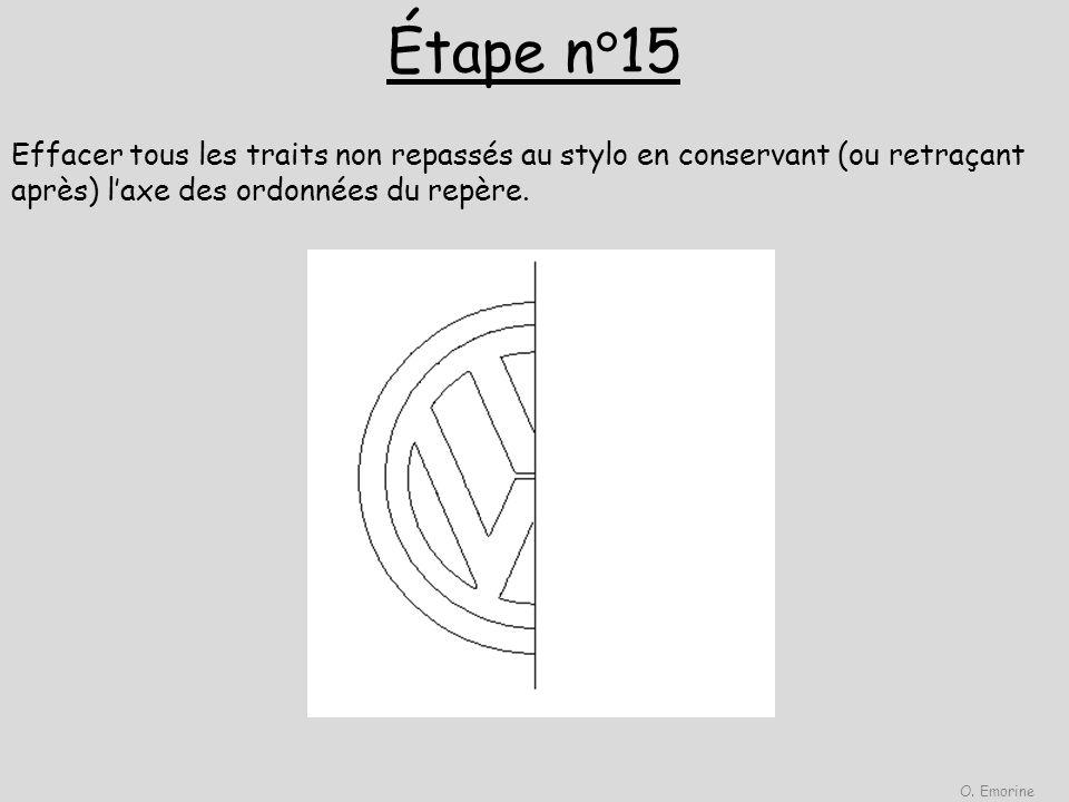 Étape n°15 O.Emorine. Effacer tous les traits non repassés au stylo en conservant (ou retraçant après) l'axe des ordonnées du repère.
