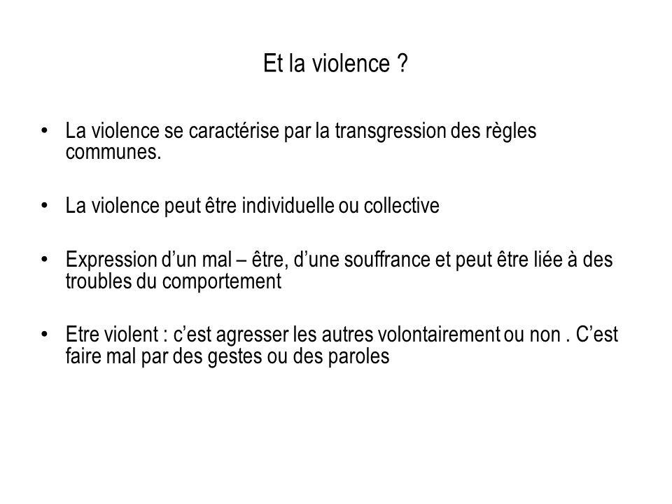 Et la violence La violence se caractérise par la transgression des règles communes. La violence peut être individuelle ou collective.