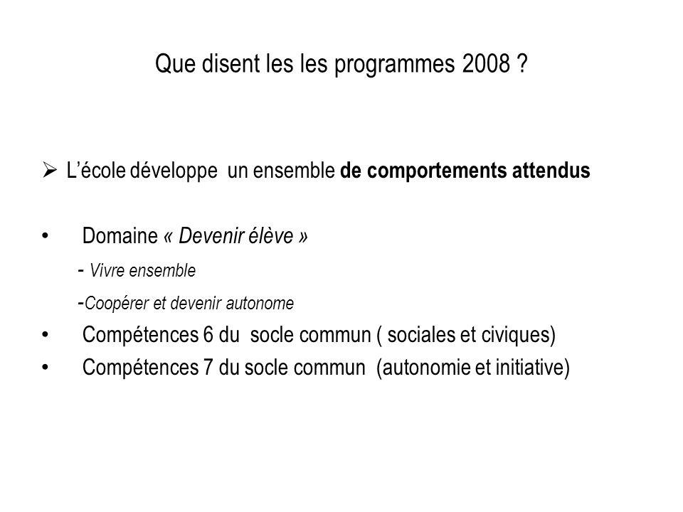 Que disent les les programmes 2008