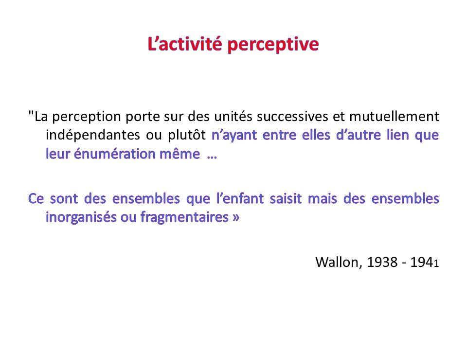 L'activité perceptive