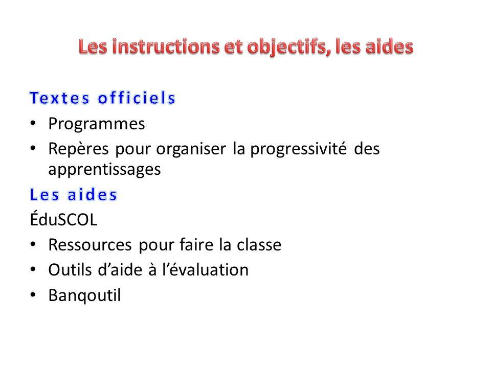Les instructions et objectifs, les aides