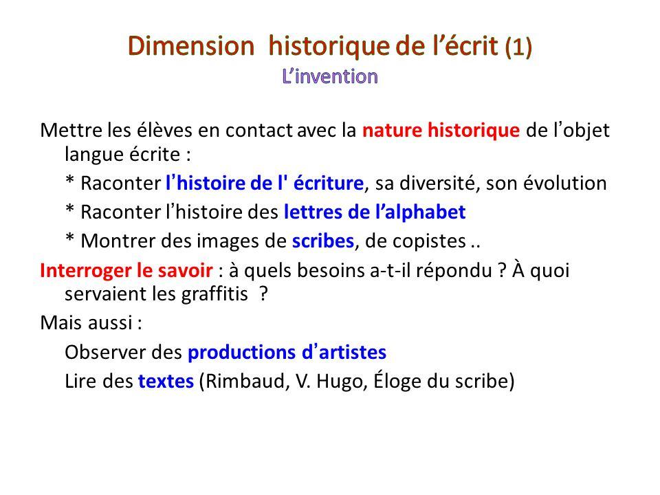 Dimension historique de l'écrit (1) L'invention