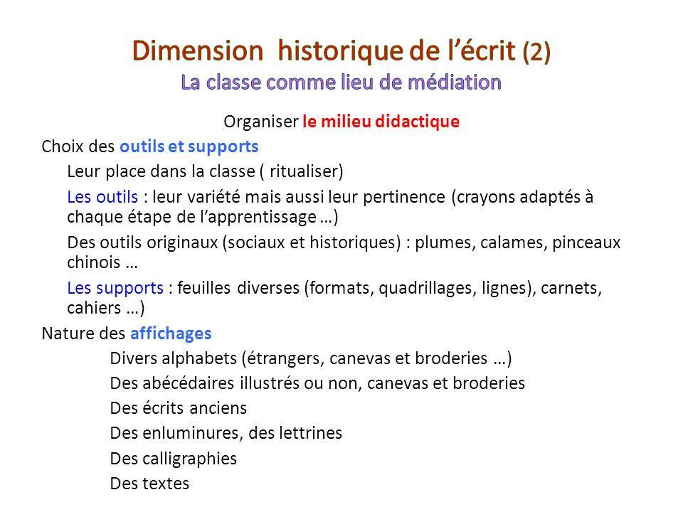 Dimension historique de l'écrit (2) La classe comme lieu de médiation