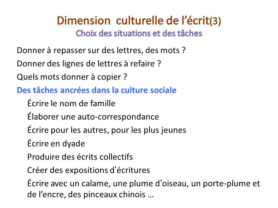 Dimension culturelle de l'écrit(3) Choix des situations et des tâches