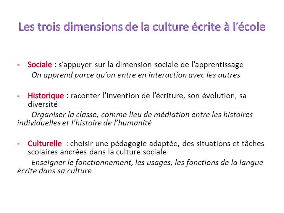 Les trois dimensions de la culture écrite à l'école