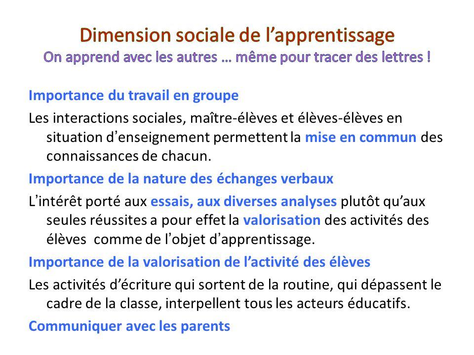 Dimension sociale de l'apprentissage On apprend avec les autres … même pour tracer des lettres !