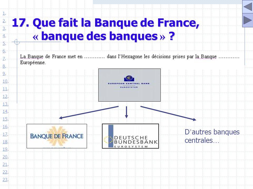 17. Que fait la Banque de France, « banque des banques »