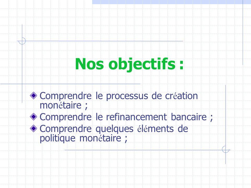 Nos objectifs : Comprendre le processus de création monétaire ;