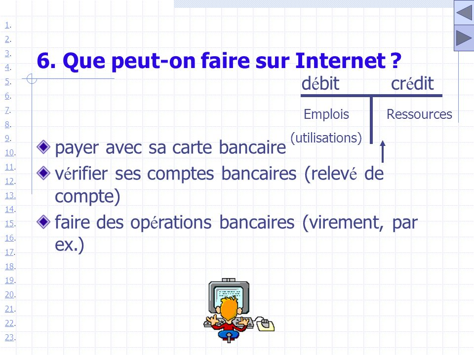 6. Que peut-on faire sur Internet