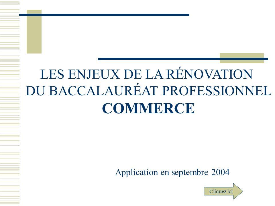 COMMERCE LES ENJEUX DE LA RÉNOVATION DU BACCALAURÉAT PROFESSIONNEL