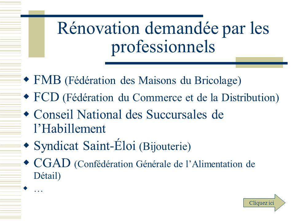 Rénovation demandée par les professionnels
