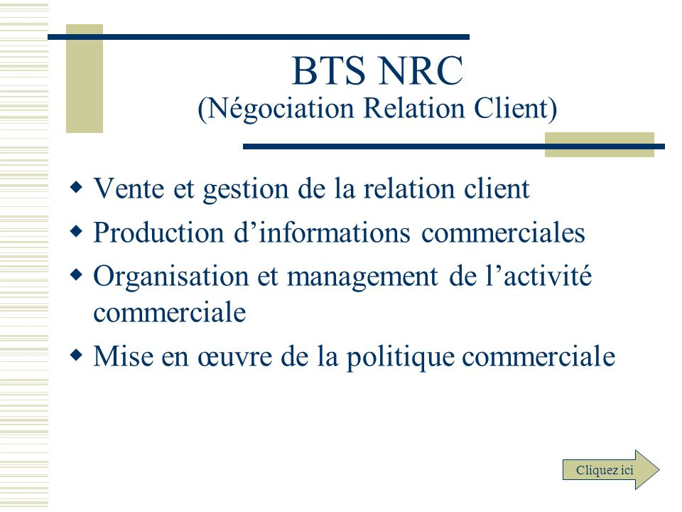 BTS NRC (Négociation Relation Client)
