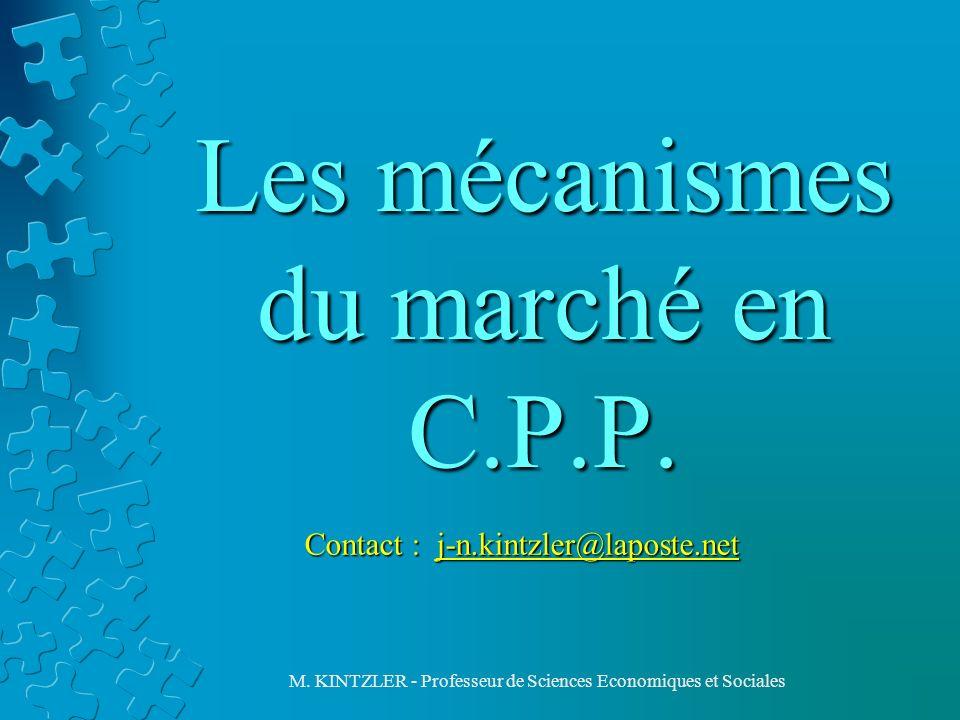 Les mécanismes du marché en C.P.P.