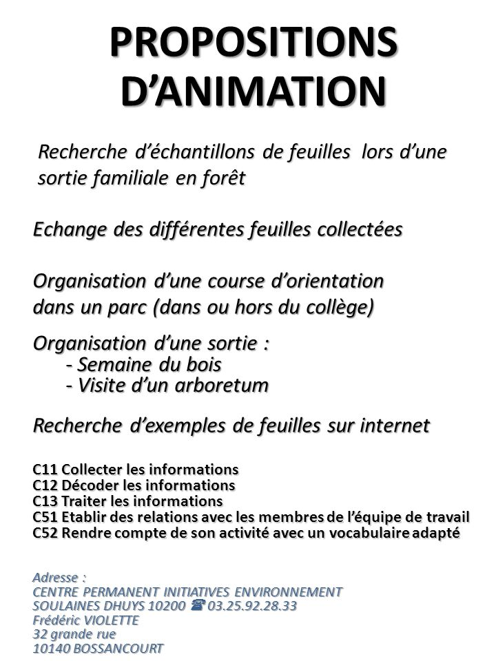 PROPOSITIONS D'ANIMATION