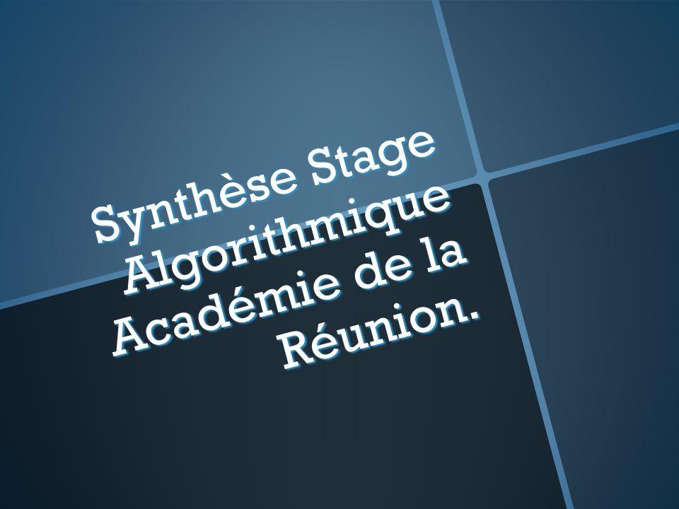Synthèse Stage Algorithmique Académie de la Réunion.