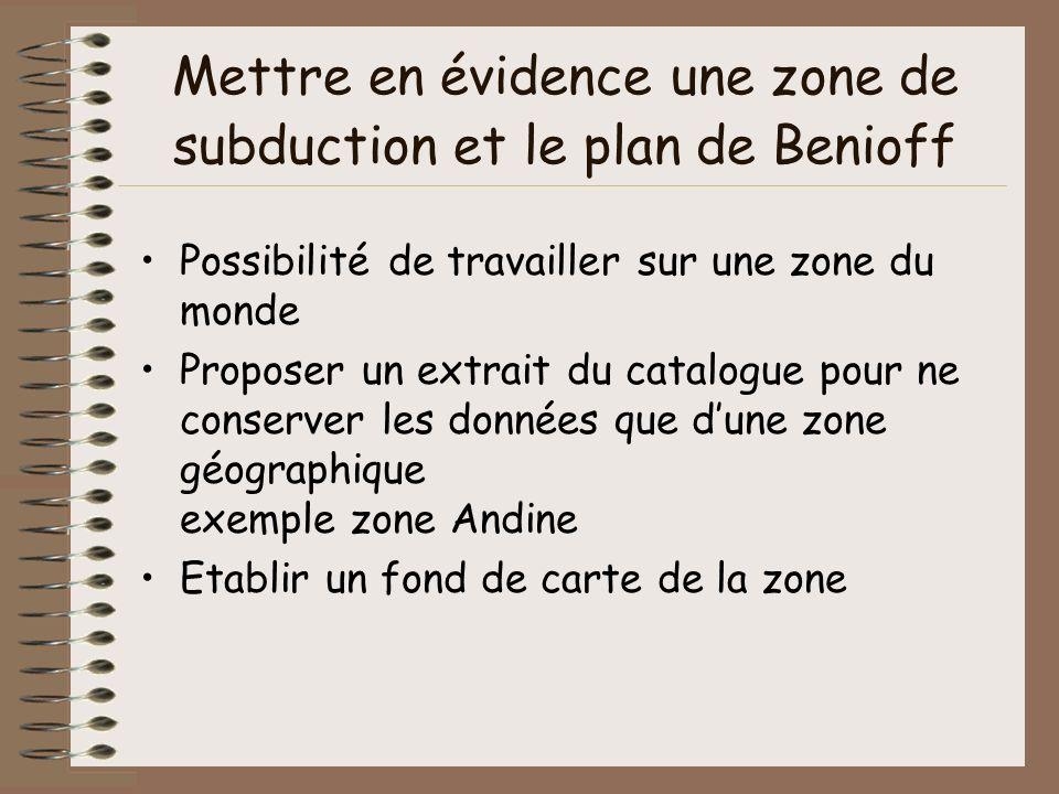 Mettre en évidence une zone de subduction et le plan de Benioff