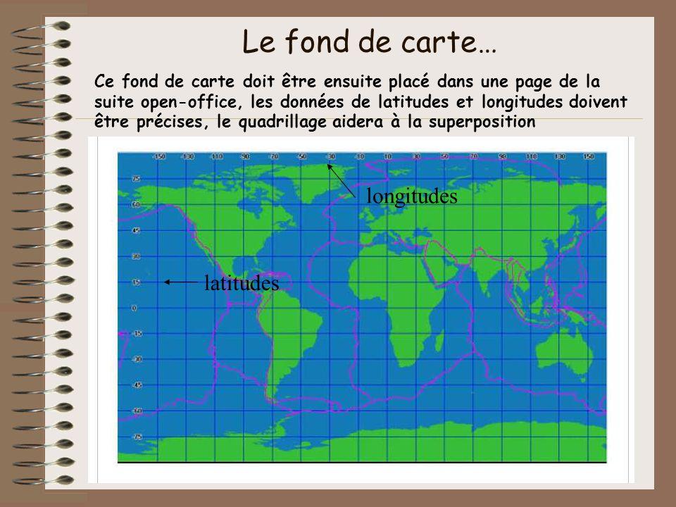 Le fond de carte… longitudes latitudes