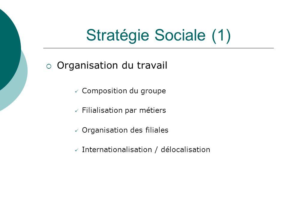 Stratégie Sociale (1) Organisation du travail Composition du groupe