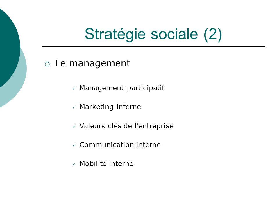 Stratégie sociale (2) Le management Management participatif