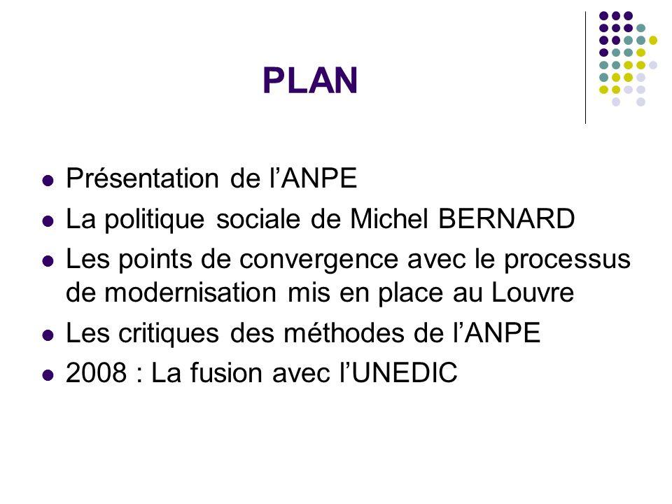 PLAN Présentation de l'ANPE La politique sociale de Michel BERNARD