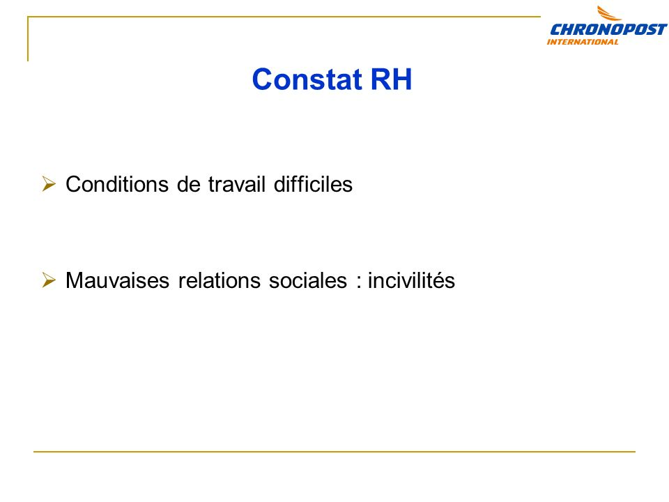 Constat RH Conditions de travail difficiles
