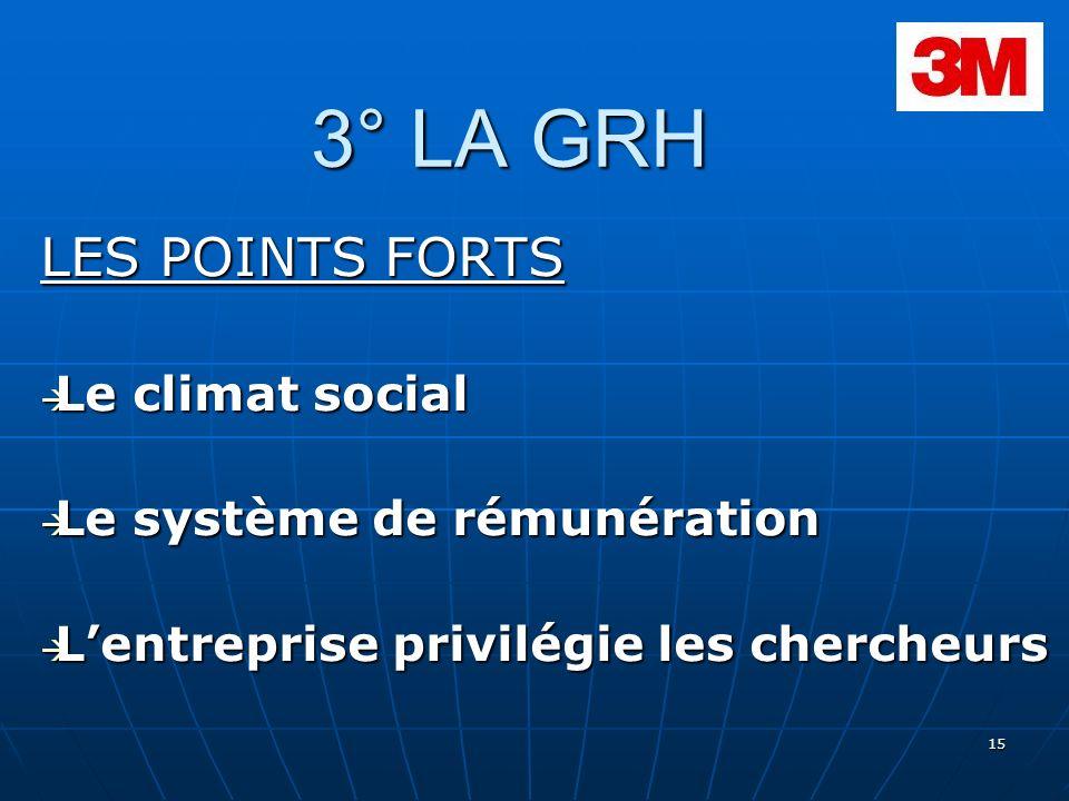 3° LA GRH LES POINTS FORTS Le climat social Le système de rémunération