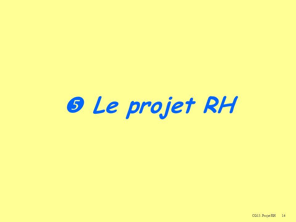  Le projet RH CG13. Projet RH