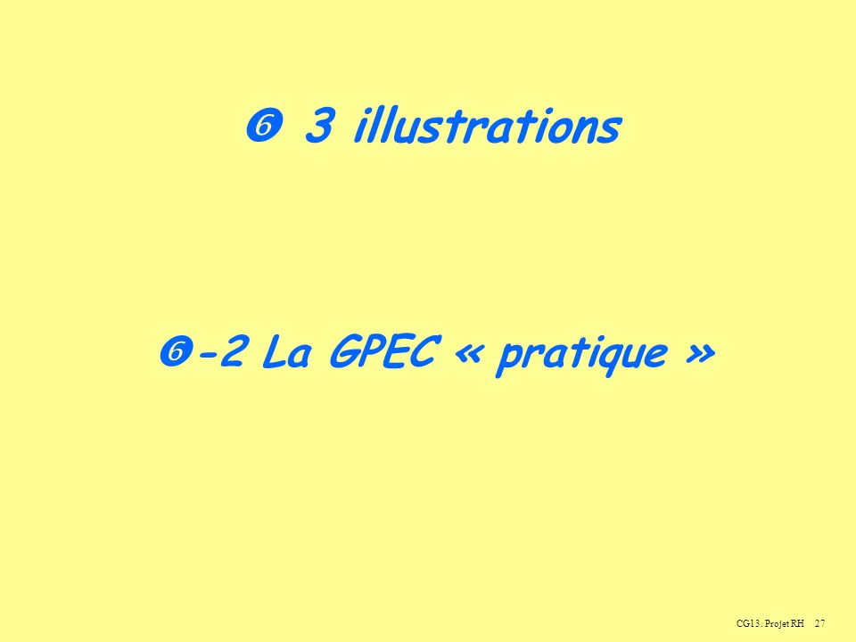  3 illustrations -2 La GPEC « pratique » CG13. Projet RH