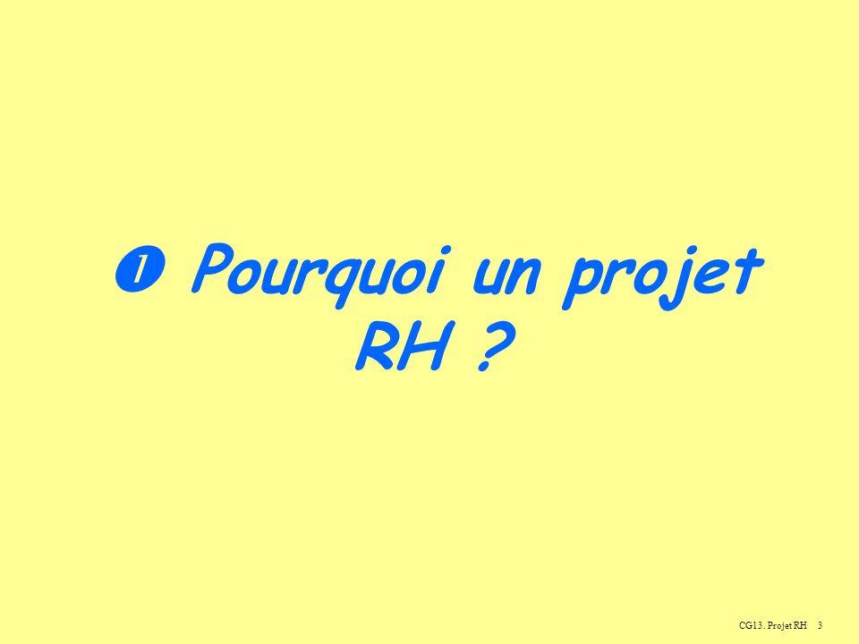  Pourquoi un projet RH CG13. Projet RH
