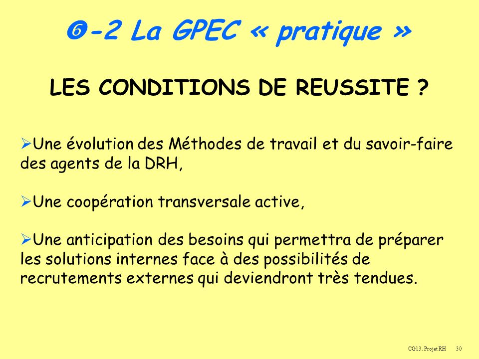 LES CONDITIONS DE REUSSITE