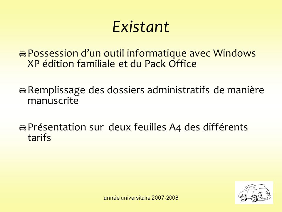 ExistantPossession d'un outil informatique avec Windows XP édition familiale et du Pack Office.