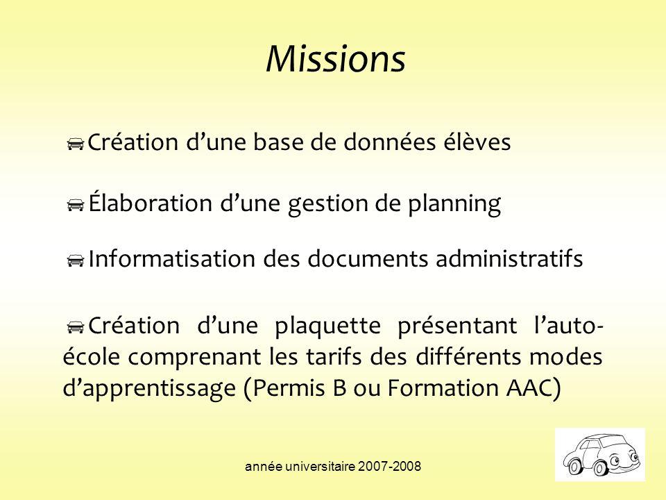 Missions Création d'une base de données élèves