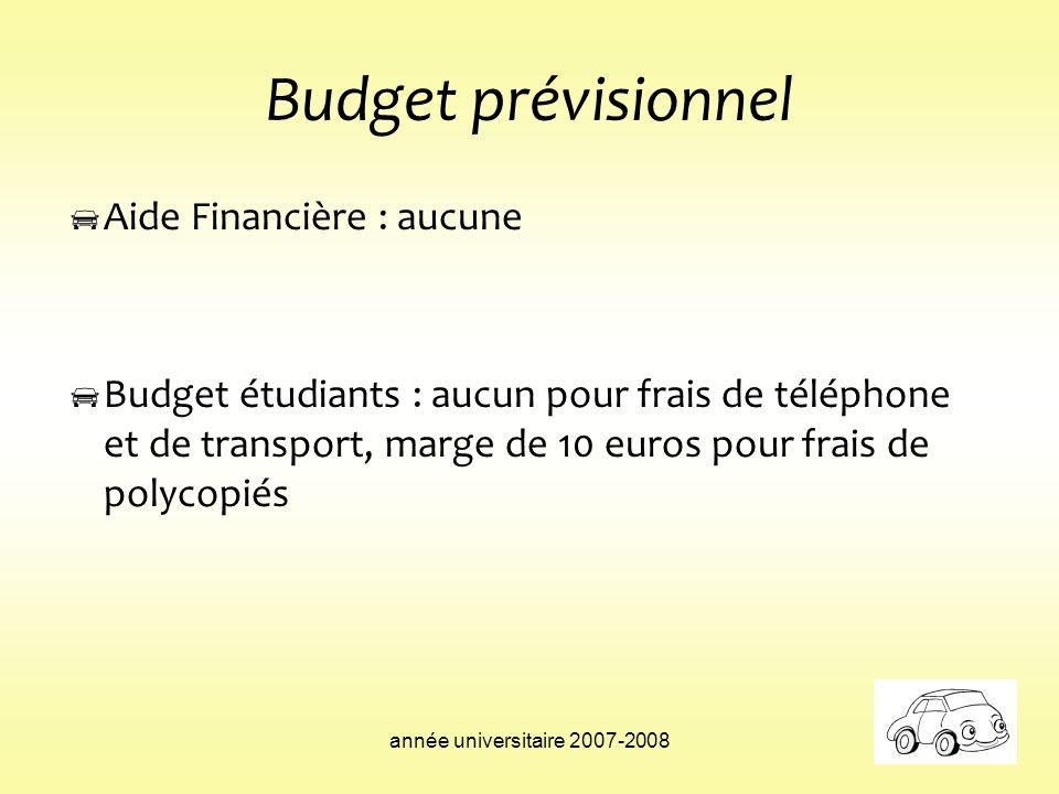 Budget prévisionnel Aide Financière : aucune