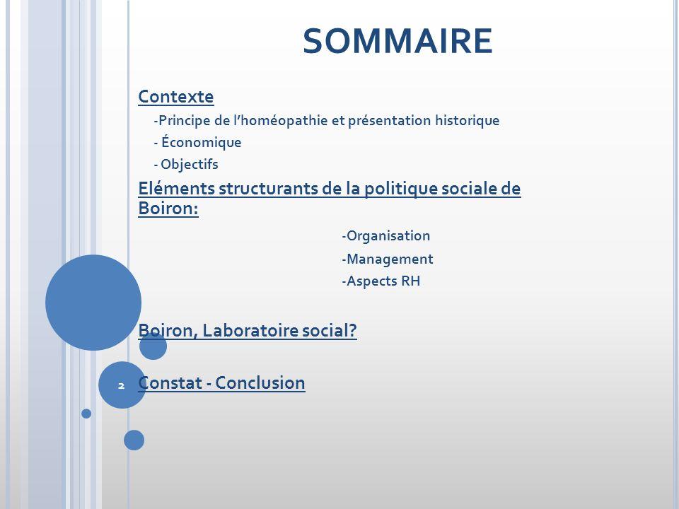 SOMMAIRE Contexte. -Principe de l'homéopathie et présentation historique. - Économique. - Objectifs.