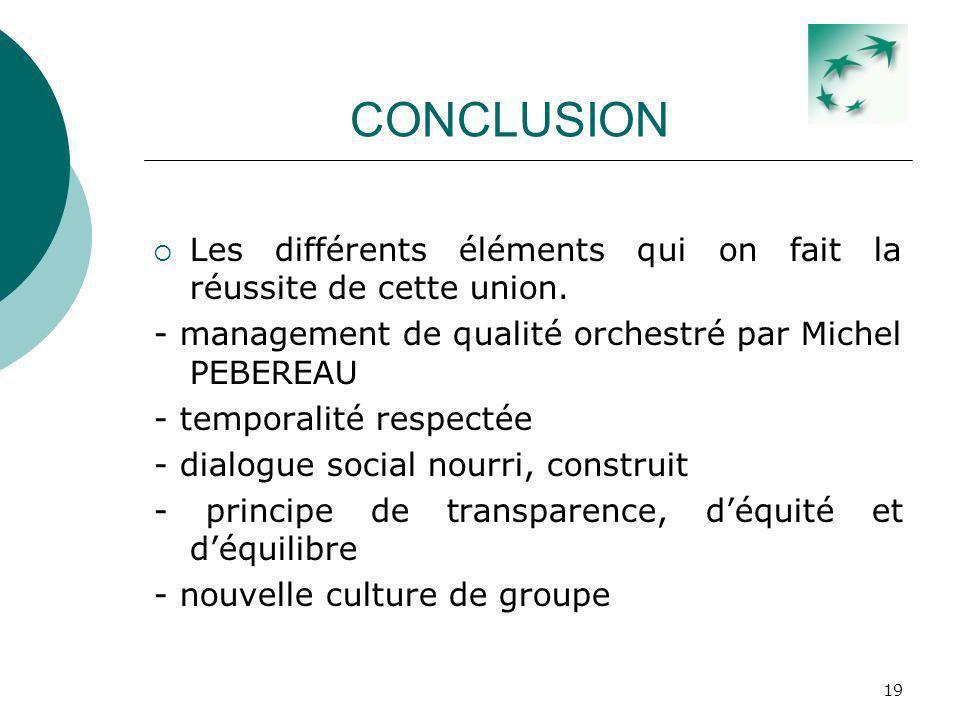 CONCLUSION Les différents éléments qui on fait la réussite de cette union. - management de qualité orchestré par Michel PEBEREAU.