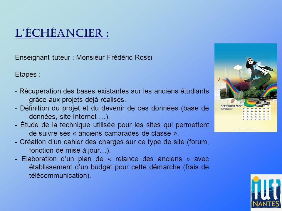 L'échéancier : Enseignant tuteur : Monsieur Frédéric Rossi Étapes :