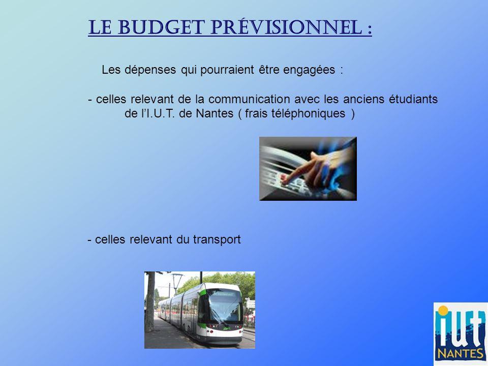 Le budget prévisionnel :