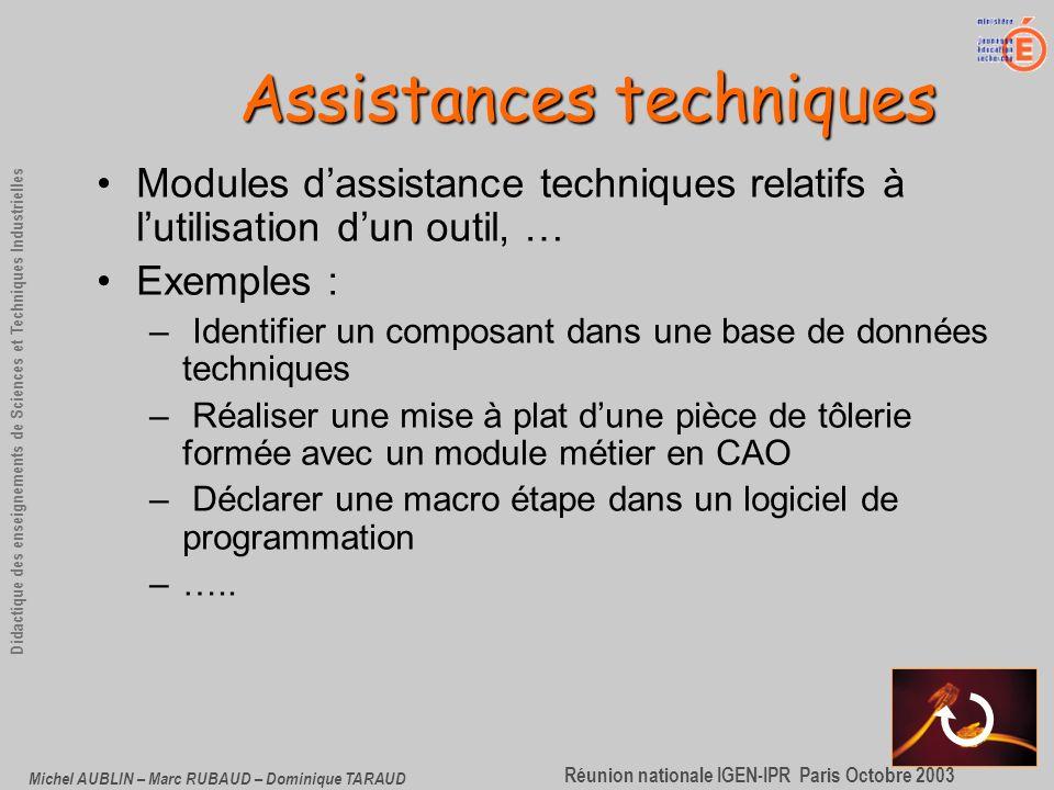 Assistances techniques