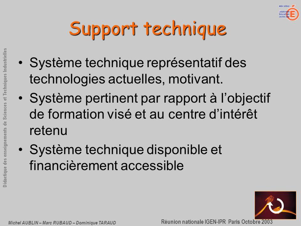 Support technique Système technique représentatif des technologies actuelles, motivant.