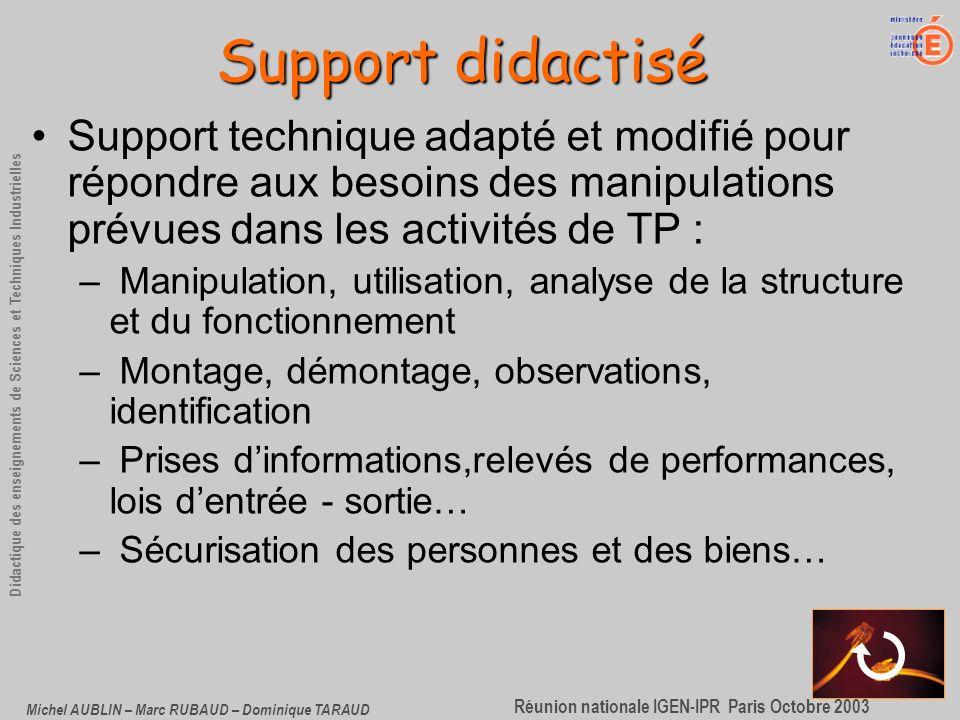 Support didactisé Support technique adapté et modifié pour répondre aux besoins des manipulations prévues dans les activités de TP :
